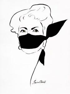 Frauenportrait mit schwarzem Mundtuch